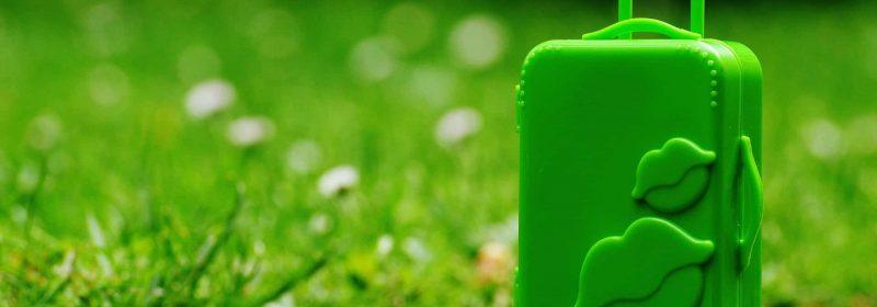 Grüner Trolley auf Straße