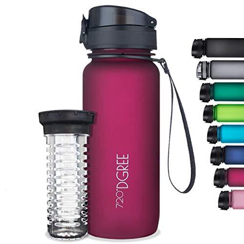 """720°DGREE Trinkflasche """"uberBottle"""" softTouch +Früchtebehälter - 1L - BPA-Frei - Wasserflasche für Uni, Sport, Fitness, Fahrrad, Outdoor"""