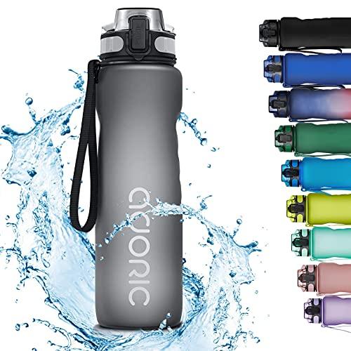 Adoric Sport Trinkflasche, [BPA Frei Tritan] 1000ML Auslaufsicher Kunststoff Wasserflasche Sport, Sportflasche Fahrrad für Camping Freien, Outdoor, Yoga, Gym