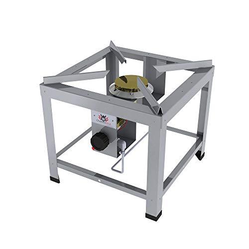 Professional Hockerkocher HK2000EV2 11kW aus Edelstahl für Flüssiggas, incl. Schlauch und Regler 50mbar B:460mm x T:460mm (Tischgerät - Höhe 420 mm)