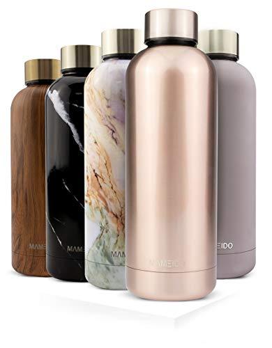 MAMEIDO Trinkflasche Edelstahl - Rosegold - 500ml, 0,5l Thermosflasche - auslaufsicher, BPA frei - schlanke isolierte Wasserflasche, leichte doppelwandige Isolierflasche